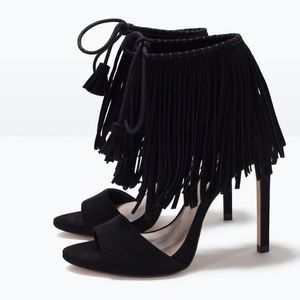 Zara Fringe Black Sandal Heels